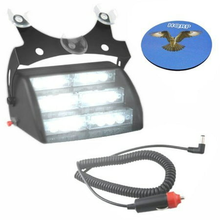 HQRP 18 LED Car / Truck Visor Dashboard Emergency Strobe Lights For Warning and High Visibility White 6 LED Section 3 LEDs per Panel plus HQRP Coaster