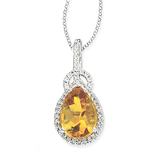 Avanti 14k White Gold Citrine and 1 4ct TDW Diamond Necklace (G-H, SI1-SI2) by Overstock