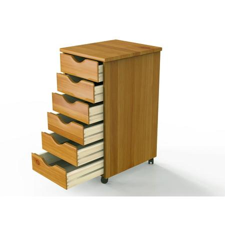 wood rolling drawers 6 drawer. Black Bedroom Furniture Sets. Home Design Ideas