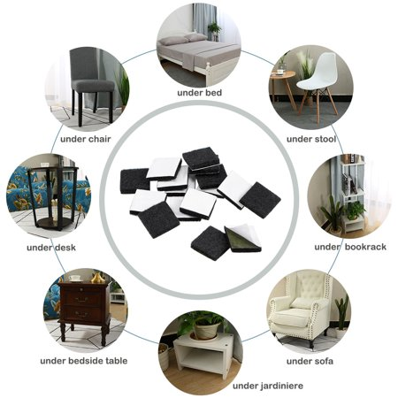 Furniture Pads Adhesive Felt Pads 16mm x 16mm Square 3mm Thick Black 28Pcs - image 5 de 6