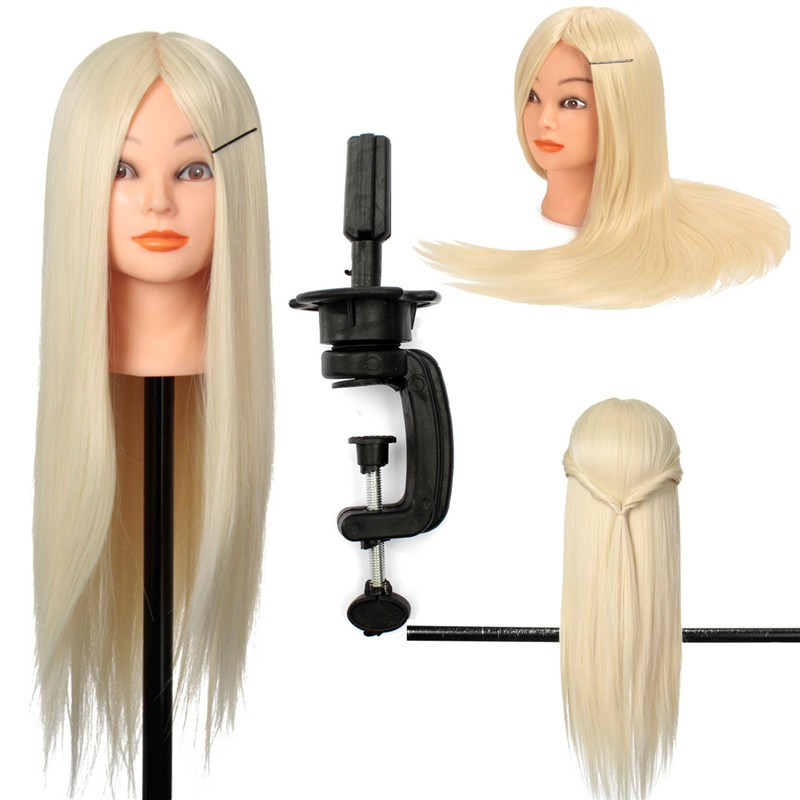 "24"" 30% Real Human Hair Training Hairdressing Cut Head Mannequin + Clamp"