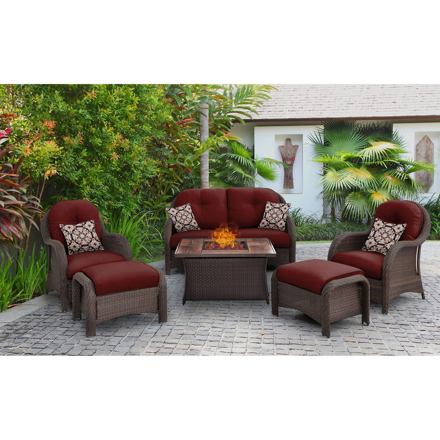 Hanover Newport 6-Piece Woven Fire Pit Set with Glazed Faux-Wood Tile Top