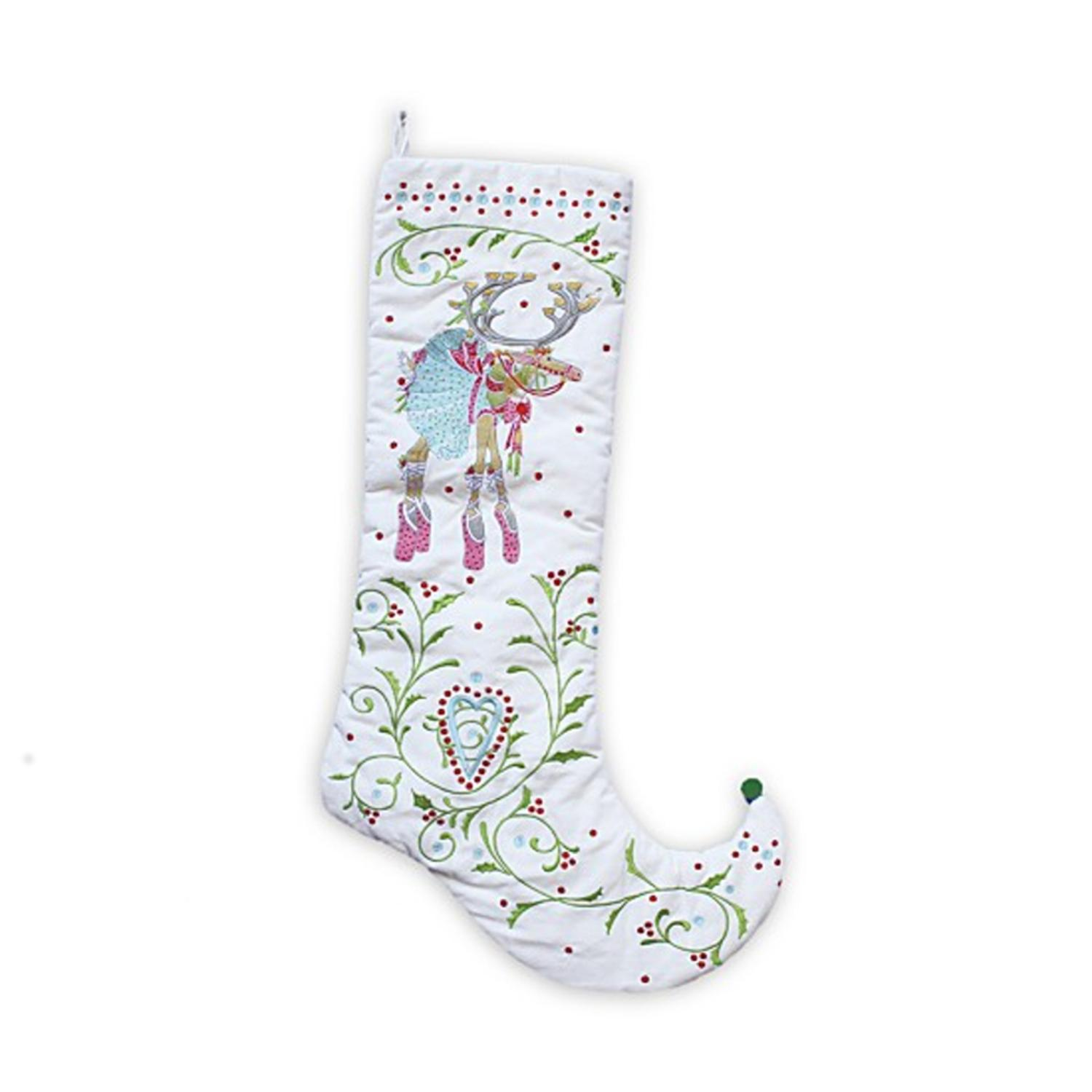 "28"" Patience Brewster Krinkles Dash Away Dancer Decorative Christmas Stocking"