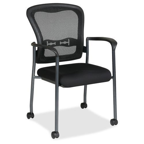 Office Star Rolling Visitors Chair with Arms and Breathable Mesh ProGrid Back - Titanium