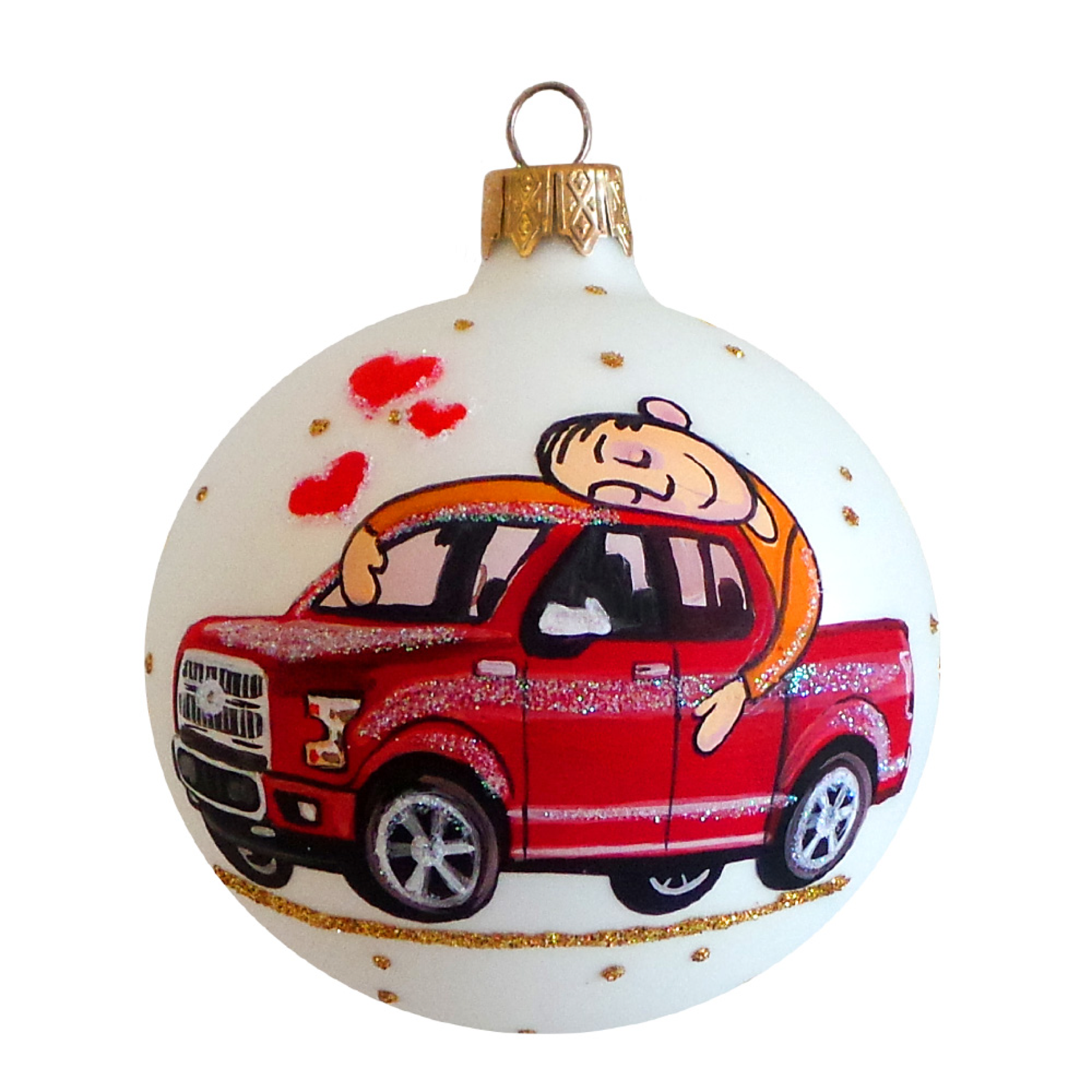 "3.25"" I Love My Car Glass Ball Christmas Ornament"