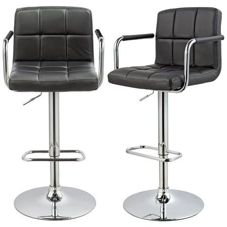 Duhome Bar Stool Adjustable Swivel Bar Stools, PU Leather Padded with Backrest & Armrest Set of 2 Bar Chairs (Black)