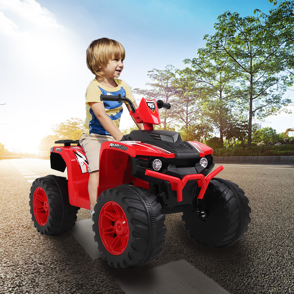 Electric ATV for Kids, 12V Dual Drive Electric Car, Battery Powered ATV Toy, Kids Ride-On ATV with LED Headlights/a Horn/MP3 Player, Powered 4 Wheels ATV, Birthday Gifts for Boys/Girls, Red, Y2613 -