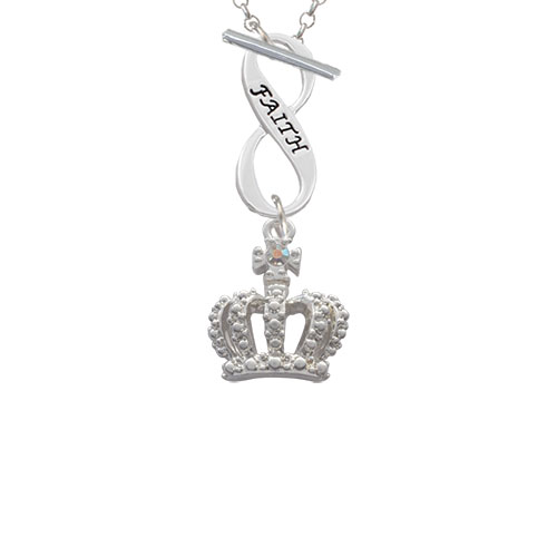 Crown with AB Crystal Faith Infinity Toggle Chain Necklace