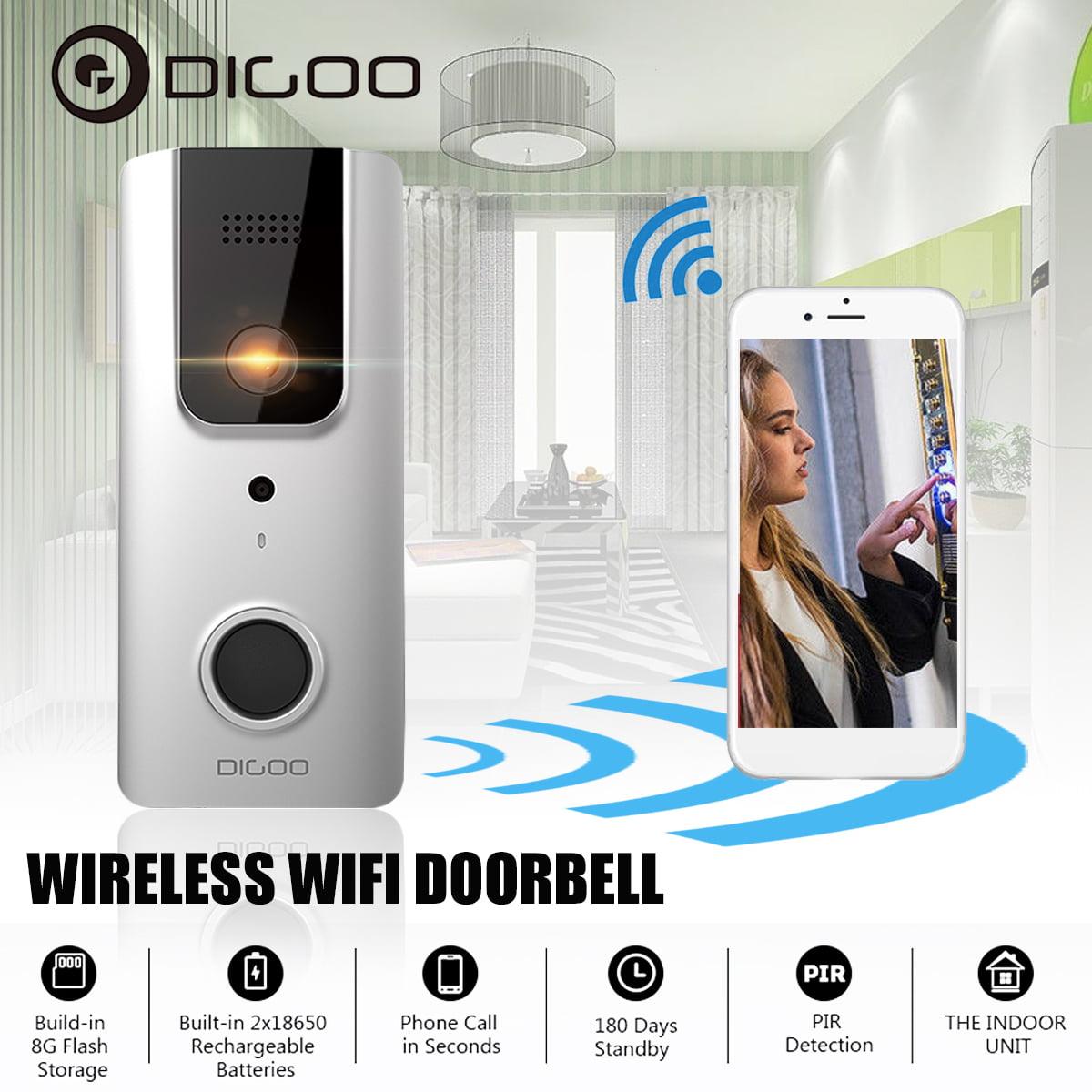 【New Upgrade】DIGOO SB-XYA bluetooth Wireless WIFI Ring Video Doorbell,Full HD 1080P,Pro Smart Home PIR Sensor,Camera&Phone Intercom,Rechargeable