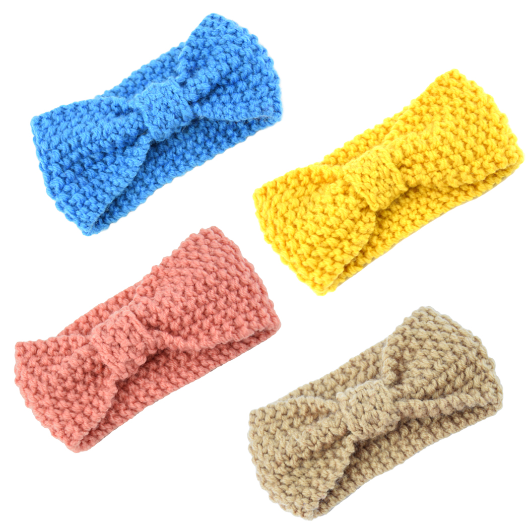 Baby Headband, Coxeer 4Pcs Baby Girls Knotted Bow Cute Knitting Turban Headbands for Baby Newborn Toddlers