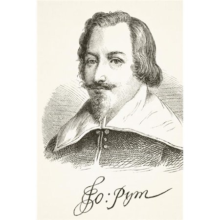 Posterazzi  John Pym 1584 To 1643 English Parliamentarian & Leader of The Long Parliament. Portrait & Signature From The National & Domestic History of England by William Aubrey Published London - image 1 of 1
