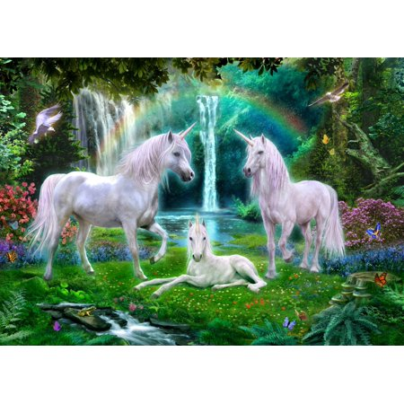 Family Poster Print (Rainbow Unicorn Family Poster Print by Jan Patrick )