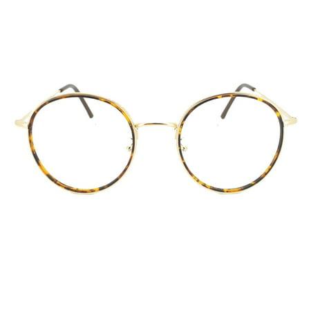 f945a89abc56 Eye Buy Express Prescription Glasses Mens Womens Tortoiseshell Gold Round  Reading Glasses Anti Glare grade - Walmart.com