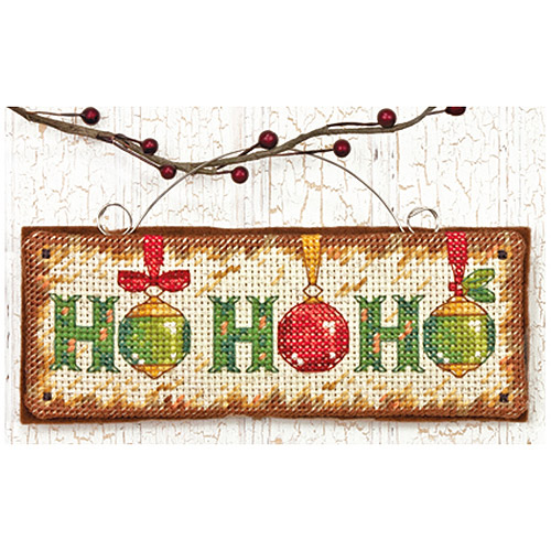 "Dimensions ""Ho Ho Ho"" Ornament Counted Cross Stitch Kit, 5-3/4"" x 2-1/4"""