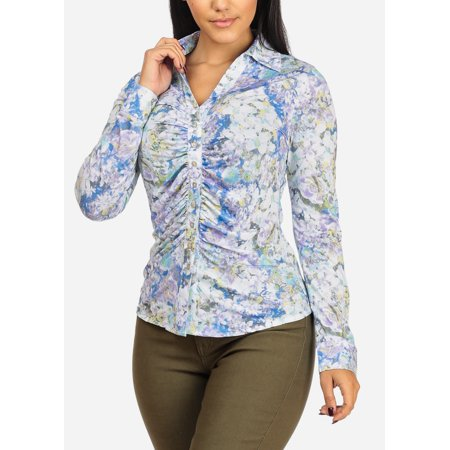 Womens Juniors See Through Long Sleeve Ruched Button Up Aqua Floral Print Top 40121Q