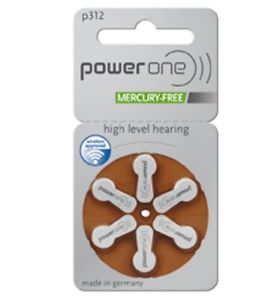 PowerOne Size 312 Hearing Aid Batteries - 30 count