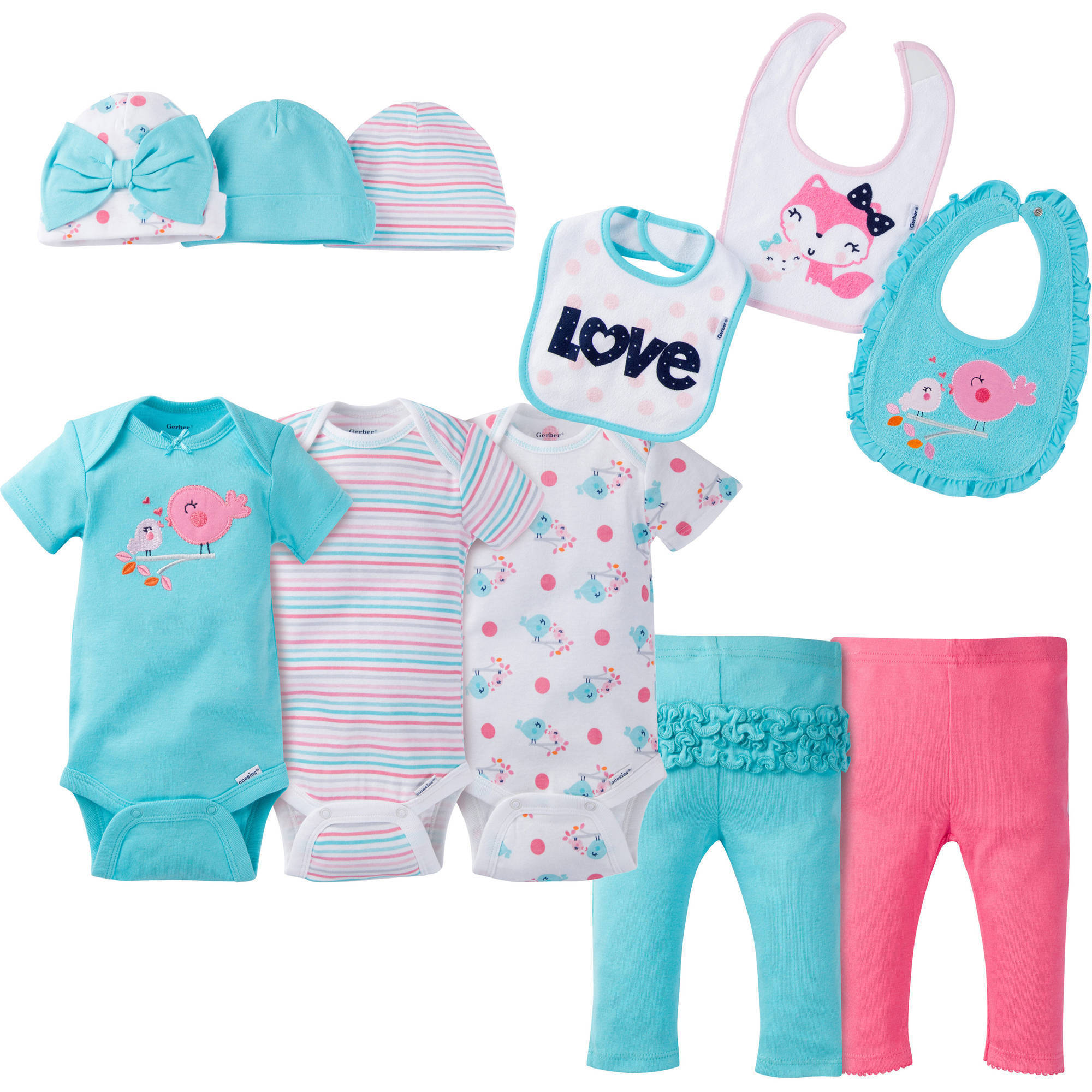 Gerber Newborn Baby Girl Perfect Baby Shower Gift 11-Piece Layette Set, Ages 0-6M