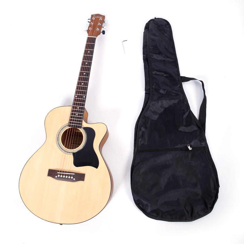 Ktaxon GT506 39 inch Spruce Front Cutaway Folk Guitar with Bag & Board & Wrench Tool Matte Edge Burlywood Color