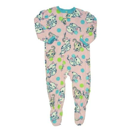 04fa22b8e3f9 Peas   Carrots - Infant Toddler Girls Plush Pink Kitty Cat Sleeper Sleep  Play Kitten Pajamas - Walmart.com