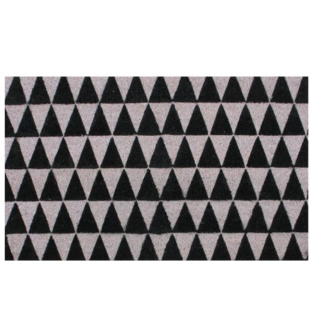 Black and Pale Pink Triangle Print Coir Outdoor Rectangular Door Mat 29.5
