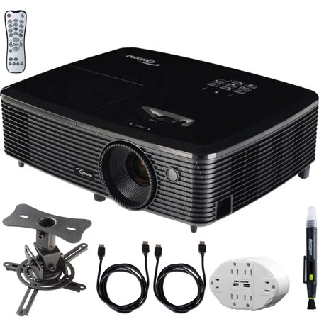 Optoma (HD143X) Full HD 1080p 3D DLP Home Theater Projector w/ Mount Bundle Includes, 6 Outlet Wall Tap w/ 2 USB Port + Low Profile Projector Mount + 2x HDMI Cable + LCD/Lens Cleaning (Best Hd Projector Under 200)