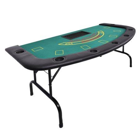 Costway  Folded 7 Player Pocker Blackjack Table Texas Holdem Car Game W/ Chip&Cup Holder - Blackjack Table