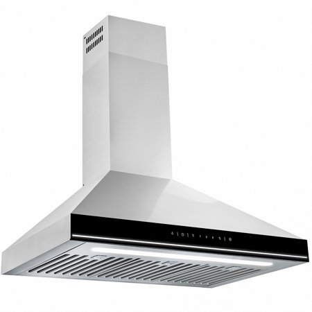 """AKDY 30"""" Stainless Steel Wall Mount Black Surface LED Light Strip Lamp Touch Control Kitchen Cooking Fan Range Hood"""