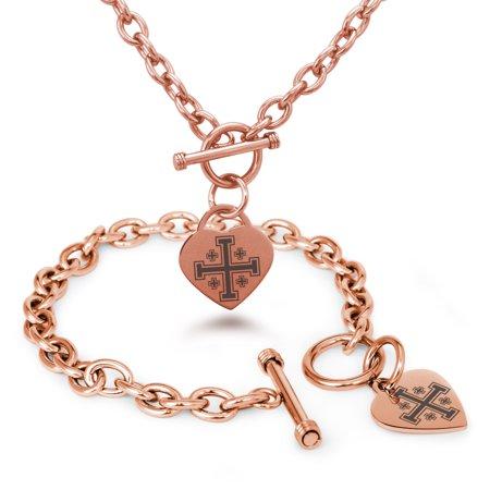 Stainless Steel Jerusalem Cross Heart Charm Bracelet, Necklace, or Set