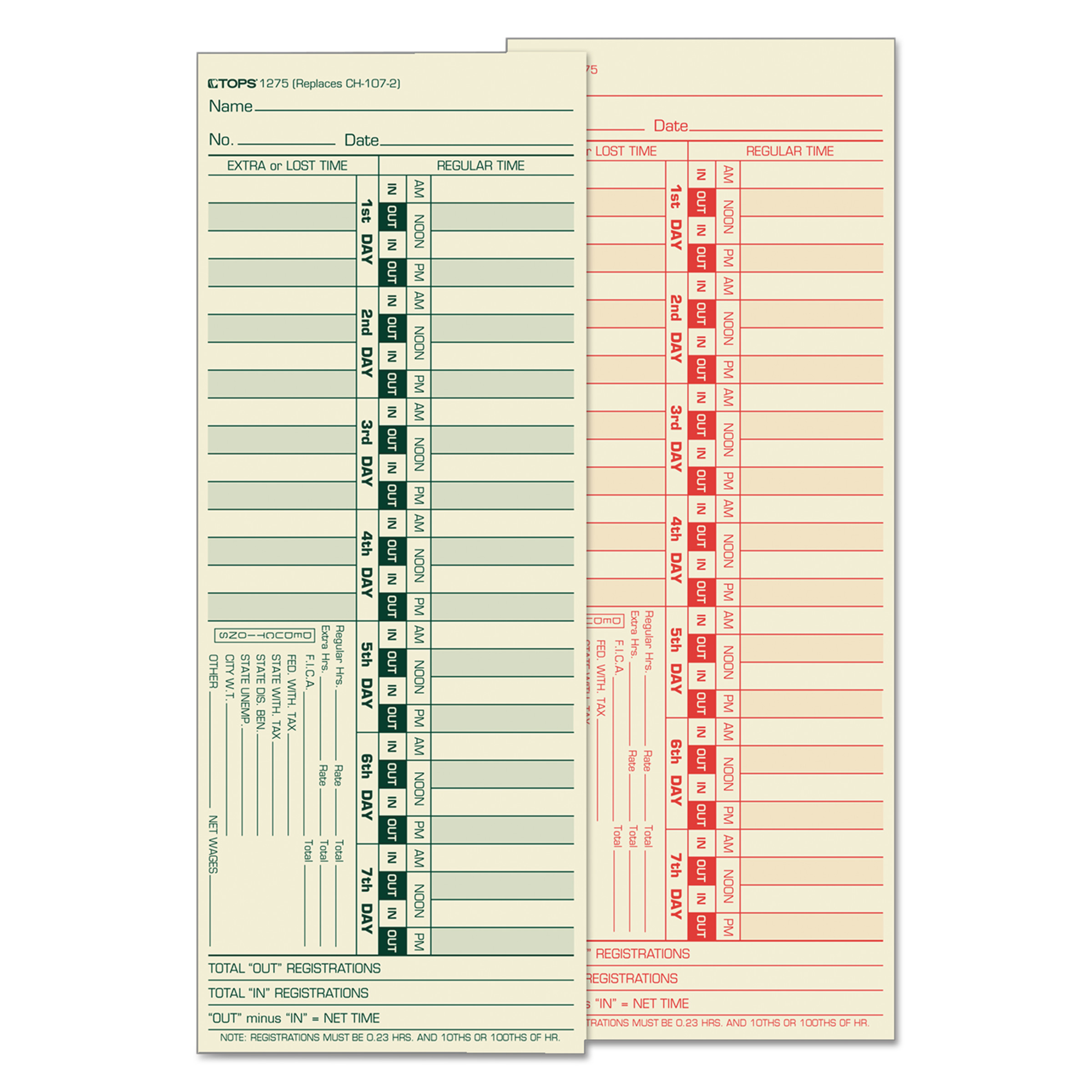 TOPS Time Card for Lathem, Bi-Weekly, Two-Sided, 3 1/2 x 9, 500 ...