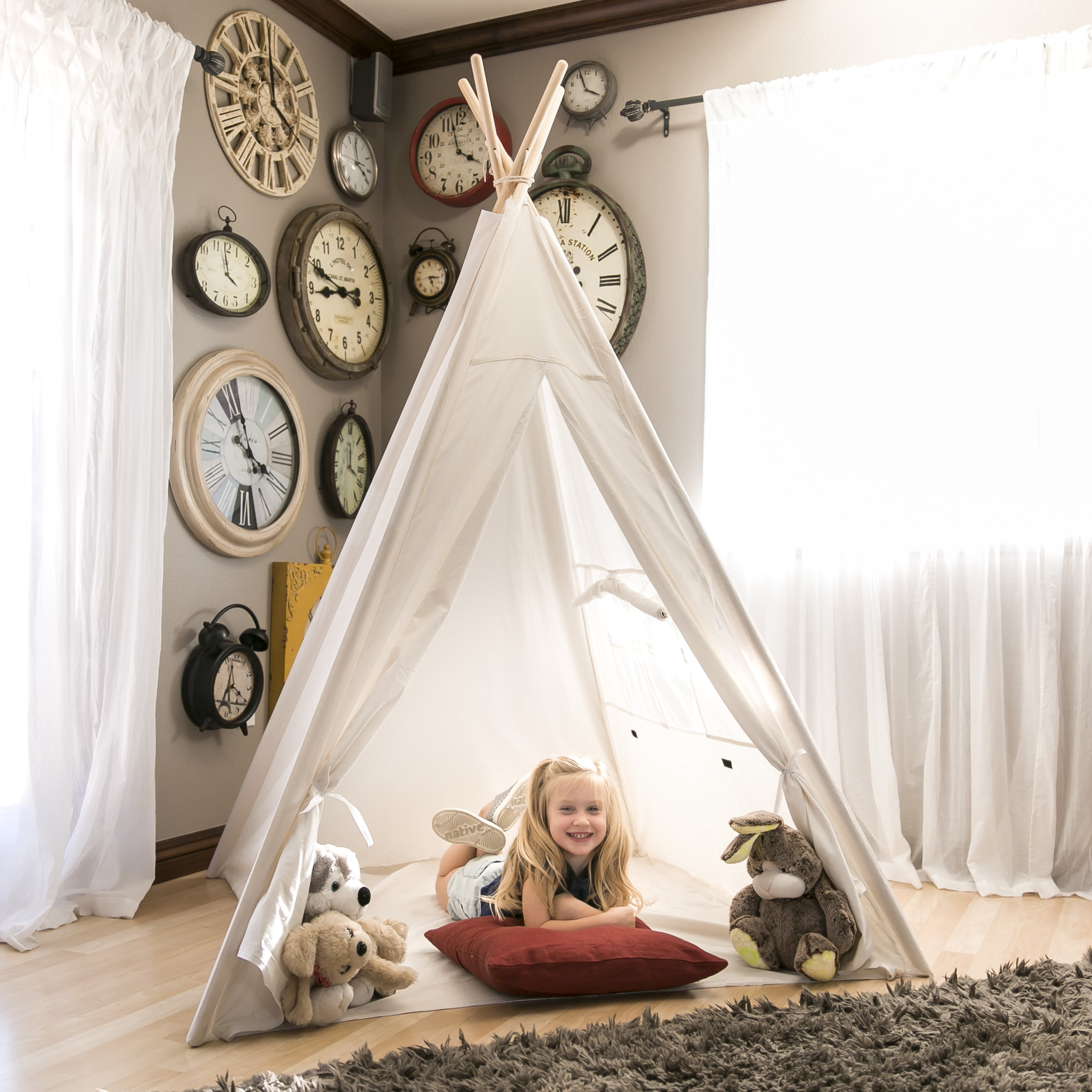 Best Choice Products 6ft White Teepee Tent Kids Indian Canvas Playhouse Sleeping Dome w  Carrying Bag White by Best Choice Products