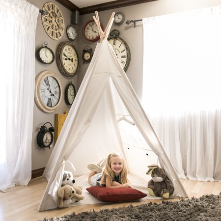 Best Choice Products 6ft White Teepee Tent Kids Indian Canvas Playhouse Sleeping Dome w/ Carrying Bag - - Plains Indians Teepees