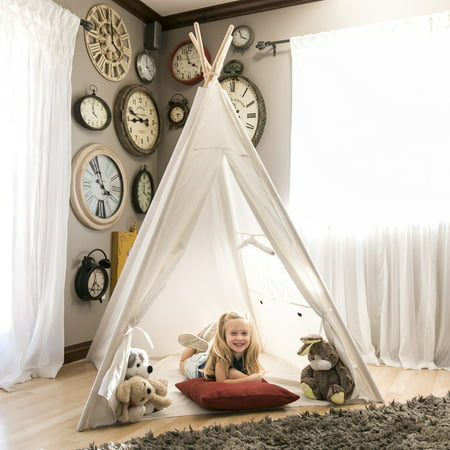 Best Choice Products 6ft White Teepee Tent Kids Indian Canvas Playhouse Sleeping Dome w/ Carrying Bag -