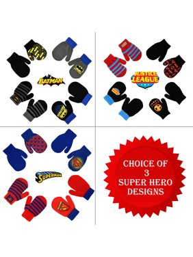 DC Comics Assorted Superhero Designs 4 Pair Acrylic Mittens Set, Toddler Boys, Age 2-4
