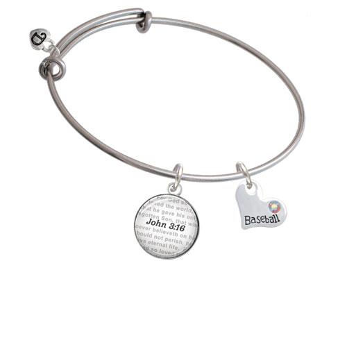 Heart with ''Baseball'' and AB Crystal - Bible Verse John 3:16 Glass Dome Bangle Bracelet