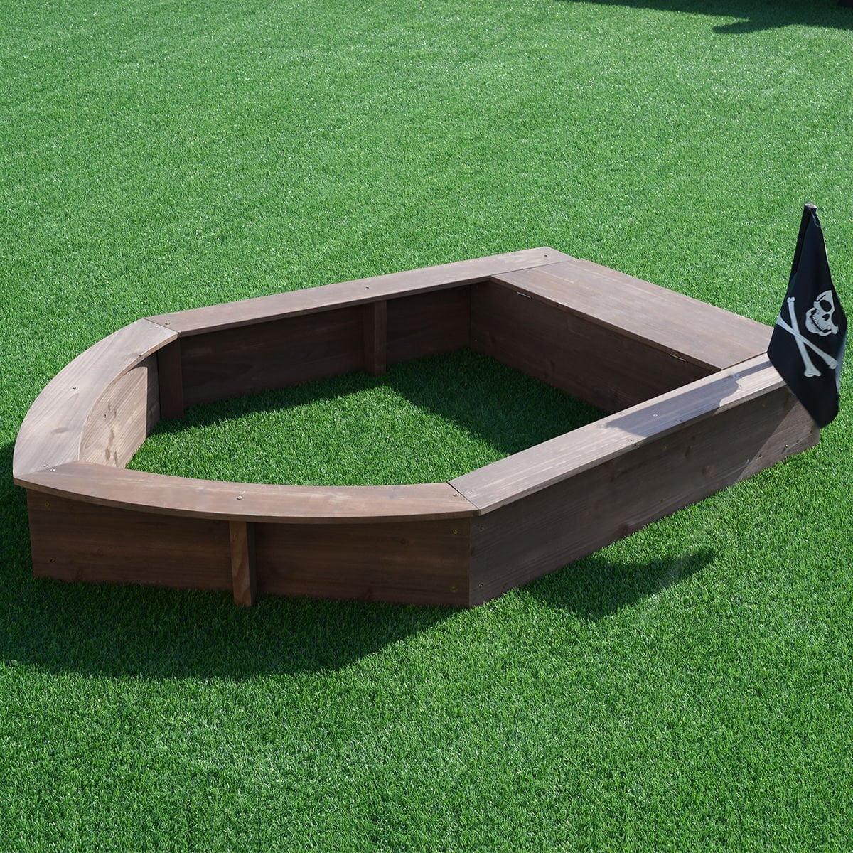New MTN-G Beach Toy Sandboat Captain Series Cedar Sandbox Kids with Bench Seat and Flag