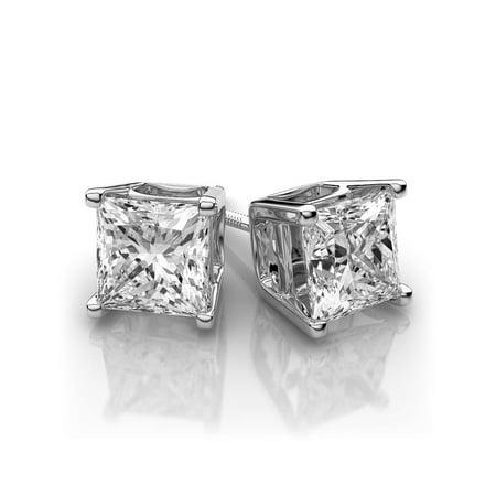 18k Brilliant Cut Stud - .82 dwt Princess Cut Forever One Moissanite C&C Stud Earrings 18k White Gold