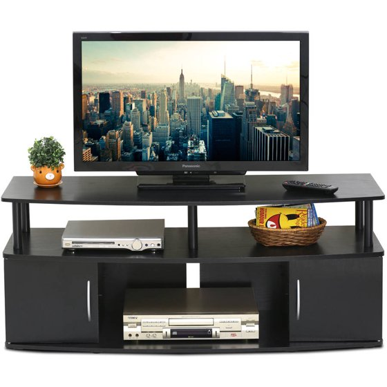 furinno jaya large entertainment center hold up to 50 tv 15113bkw. Black Bedroom Furniture Sets. Home Design Ideas