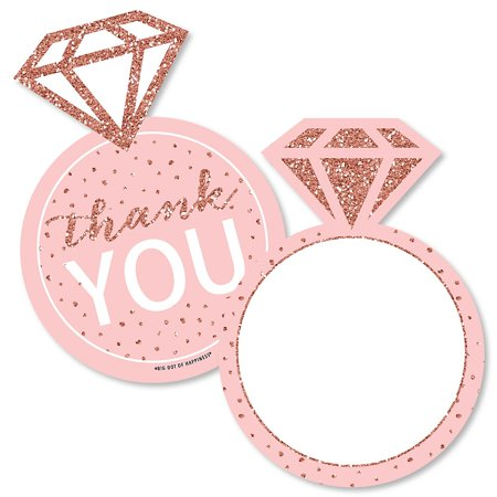 Pink Rose Petals Note Card (Bride Squad - Shaped Thank You Cards - Rose Gold Bridal Shower or Bachelorette Party Thank You Note Cards with Envelopes - Set of 12 )