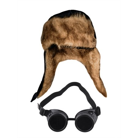 Aviator Soft Furry Bomber Hat And Black Steampunk Goggles Costume - Aviator Goggles Costume