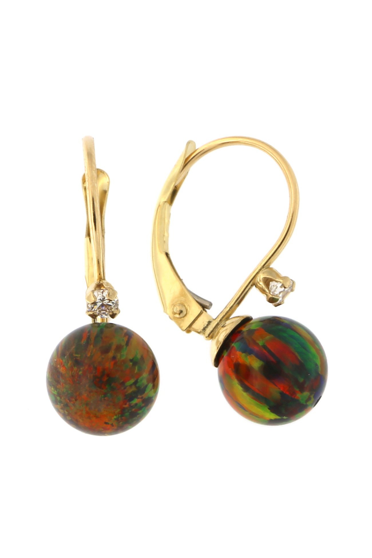 14k Yellow Gold Simulated Opal and Cubic Zirconia Leverback Dangle Earrings