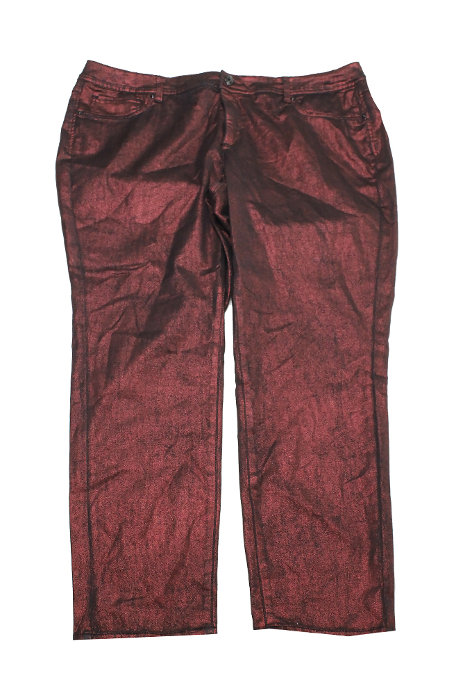 Inc International Concepts Plus Size Red Metallic Coated Skinny Jeans 20W