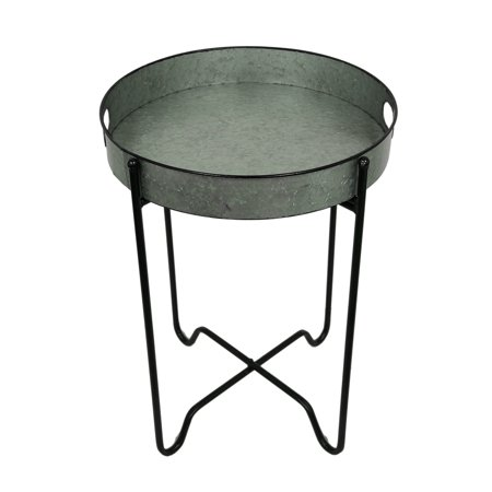 Fabulous Rustic Galvanized Finish Metal Round Folding Tray Table Home Remodeling Inspirations Cosmcuboardxyz