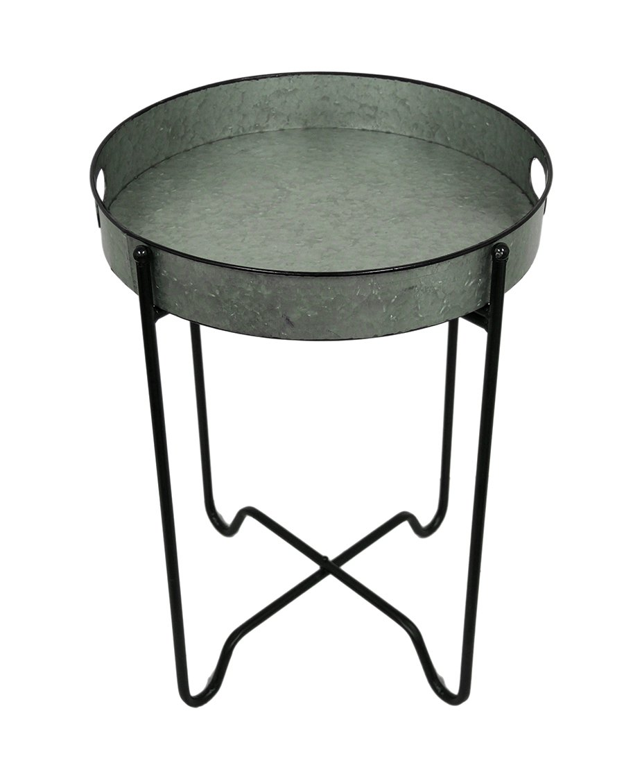 Rustic Galvanized Finish Metal Round Folding Tray Table