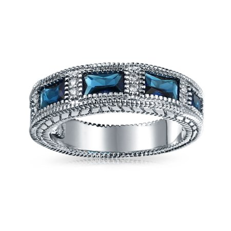 Art Deco Style Milgrain Blue Baguette Eternity Wedding Band Ring Simulated Sapphire Cubic Zirconia Silver Plated Brass - image 2 de 5