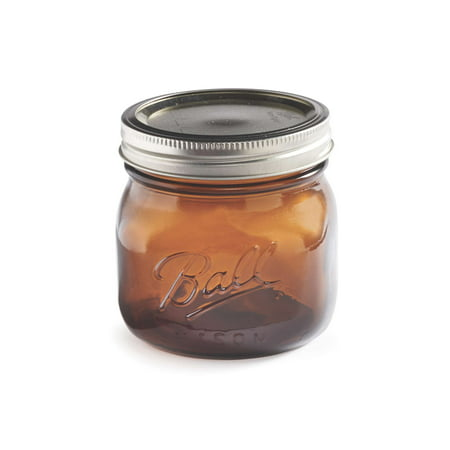 Mason Jar Ounces (Ball 16 Ounce Elite Color Series Amber Wide Mouth Canning Jars, 4)