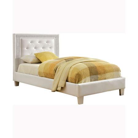 Venetian Worldwide Lianne Twin Bed White Leatherette