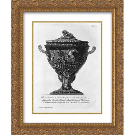 Giovanni Battista Piranesi 2x Matted 20x24 Gold Ornate Framed Art Print 'Terracotta urn vase you see in the collection of drawings of Cavalier Ghezzi in the Vatican Library'