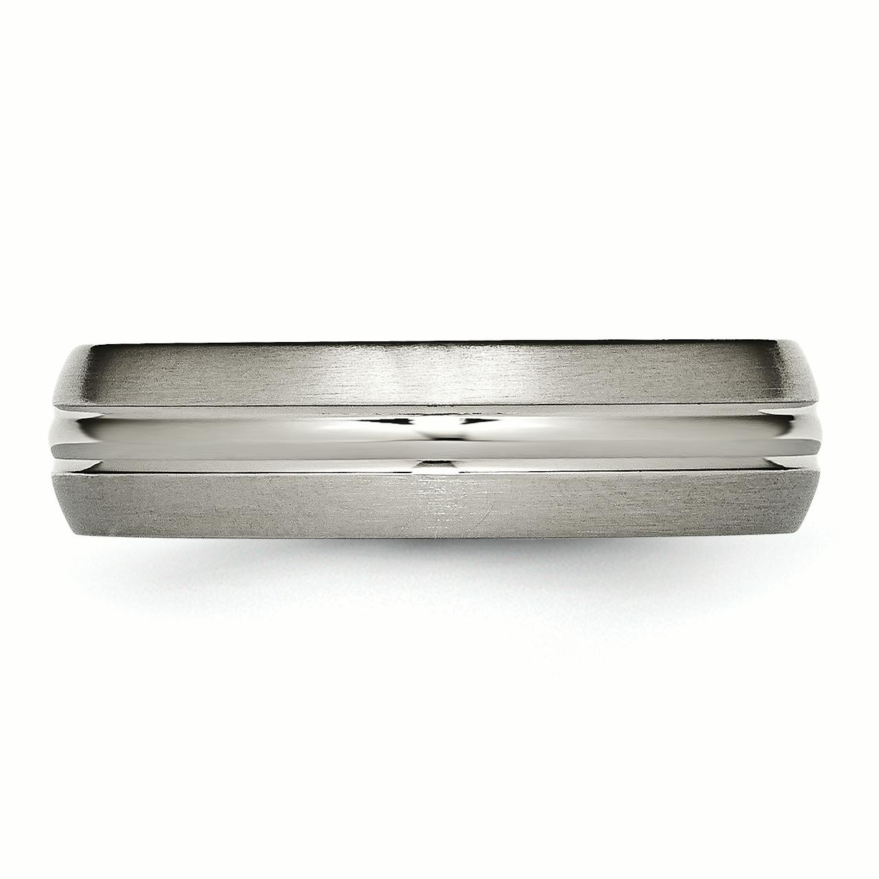 Titanium Grooved 6mm Brushed and Polished Band Size 7.5 - image 1 de 3