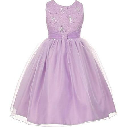 dcbab8d51a1 BNY Corner - BNY Corner Flower Girl Dress Sparkly Bodice   Stylish Skirt  for Big Girl Lilac 12 TR.1032 - Walmart.com
