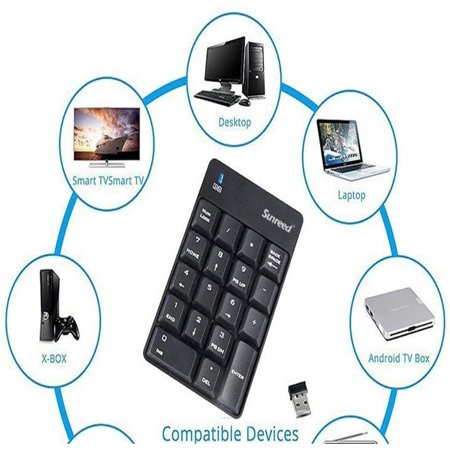 Wireless Mini USB Number Pad Full-Size 18 Keys Keyboard with 2.4G Numeric USB Receiver - image 3 of 4